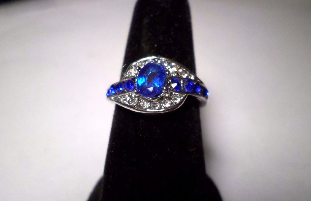womens elegant blue/clear crystal ring sizes 7, 8 & 9 silver plated #Unbranded #SolitairewithAccents