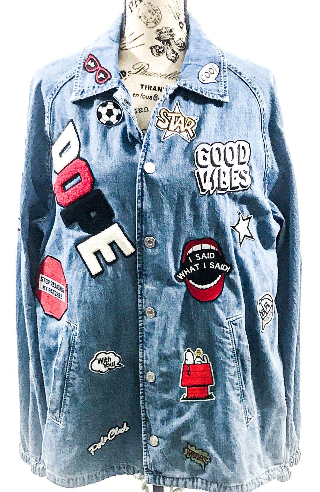 Rock Patch Jacket Rock Band Customized Jacket Coach Jacket Embroidered Patch Denim Jacket Rock And Roll Jacket Denim Jacket Patches Denim Jacket Patches Jacket [ 1632 x 1061 Pixel ]