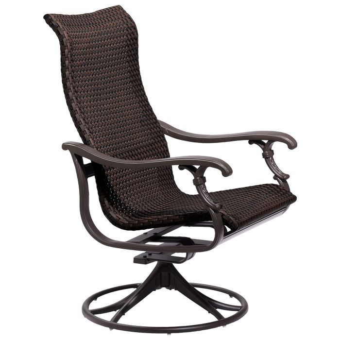 Ravello Sling High Back Swivel Rocker With Espresso Finish And Raku Fabric Two Chairs For The Front Patio