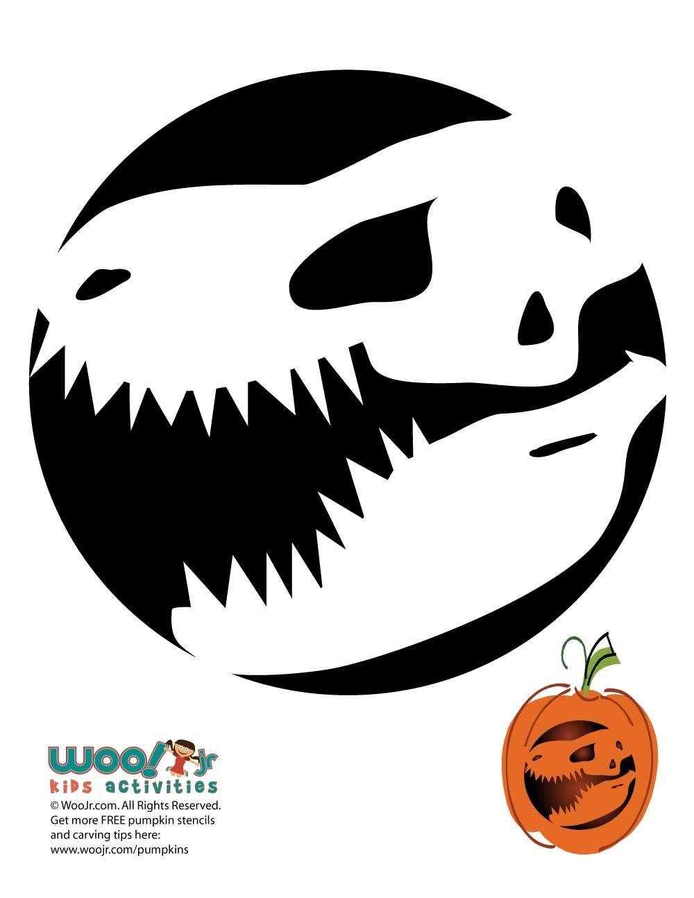 t-rex dinosaur pumpkin template  T-Rex Dinosaur Pumpkin Pattern in 7 | Halloween pumpkin ...