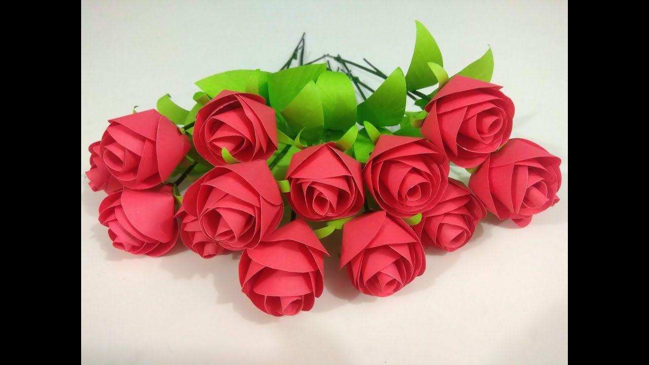 How To Make Paper Rose Flower Flower Easy Paper Roses Paper Flowers Diy Roses
