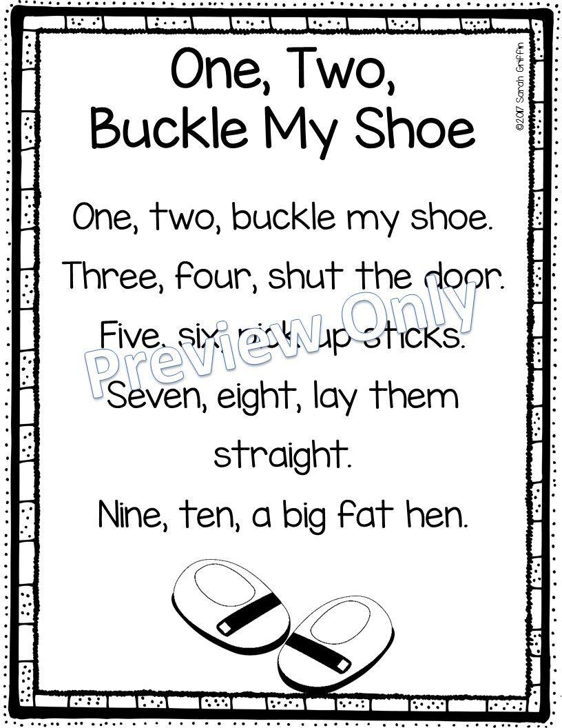 One Two Buckle My Shoe Printable Nursery Rhyme Poem For Kids