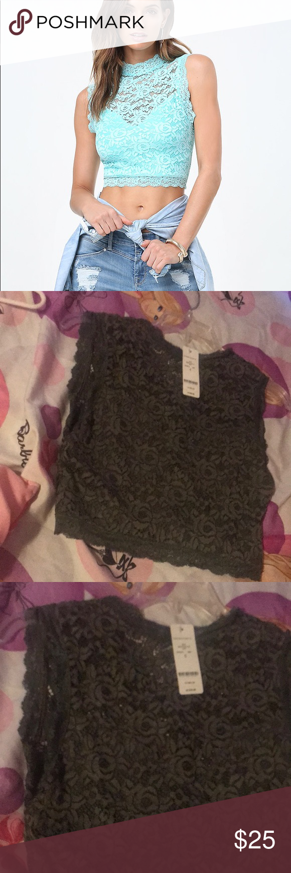 7a0506eab8df7 Bebe Olive green Sleeveless Lace Crop Top The color is Olive Green .Brand  new with tags. bebe Tops Crop Tops