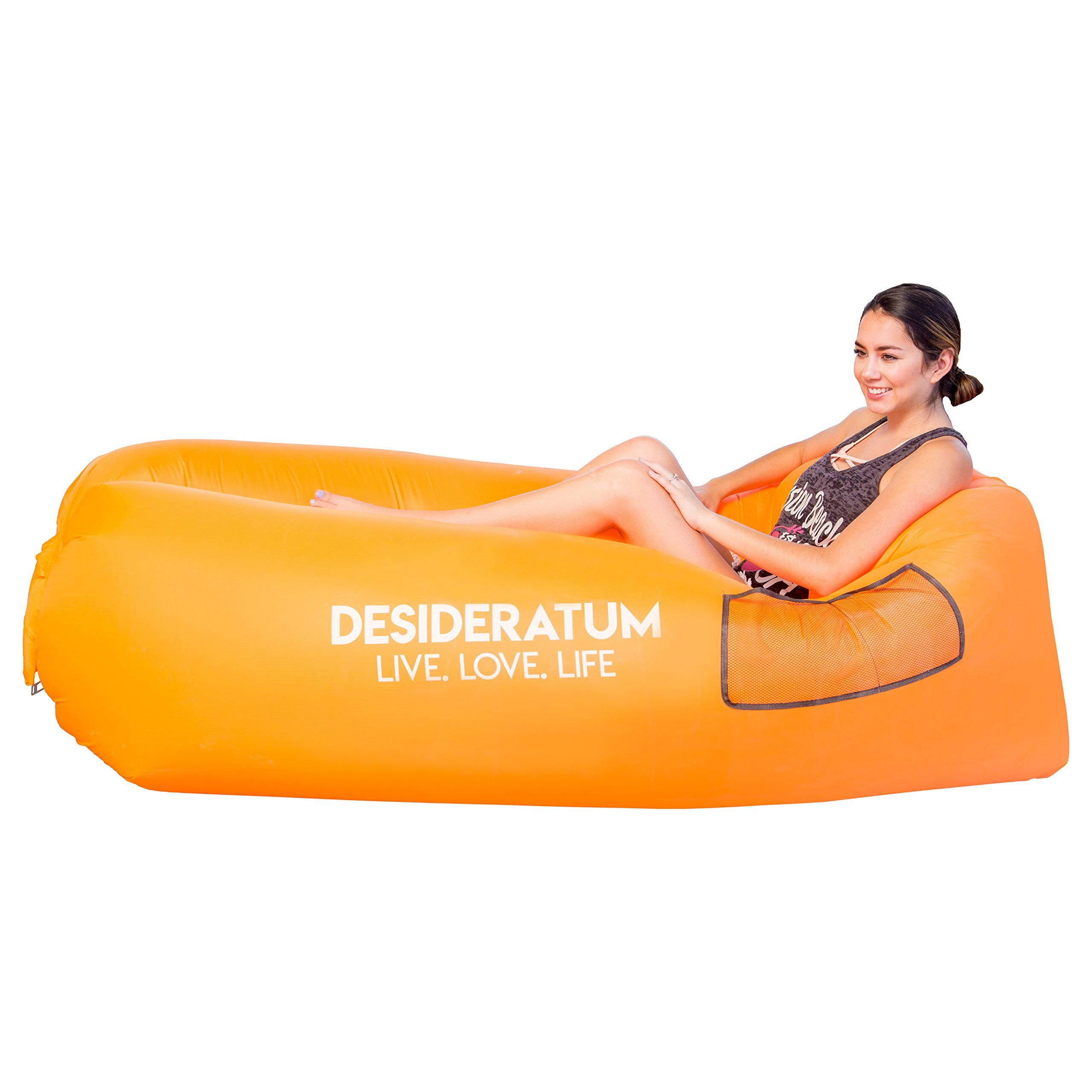 air lounger portable air bed for indoor and outdoor air hammock inflatable lounger with carry bag securing stake and bottle opener for traveling