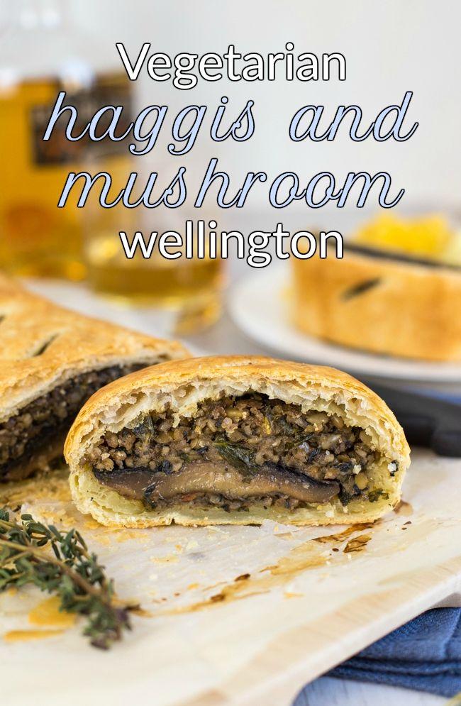 Vegetarian haggis and mushroom wellington - veggie haggis is DELICIOUS! Especially when you turn it into a beautiful mushroom wellington. Perfect for a Scottish Burns Night supper!