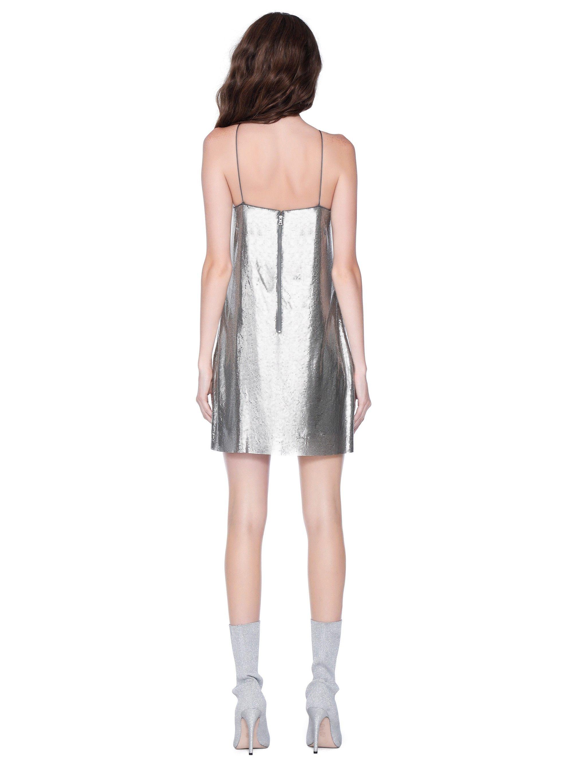 dc04c98df43 Alice + Olivia Harmony Chainmail Mini Slip Cocktail Dress - Antique Silver 0