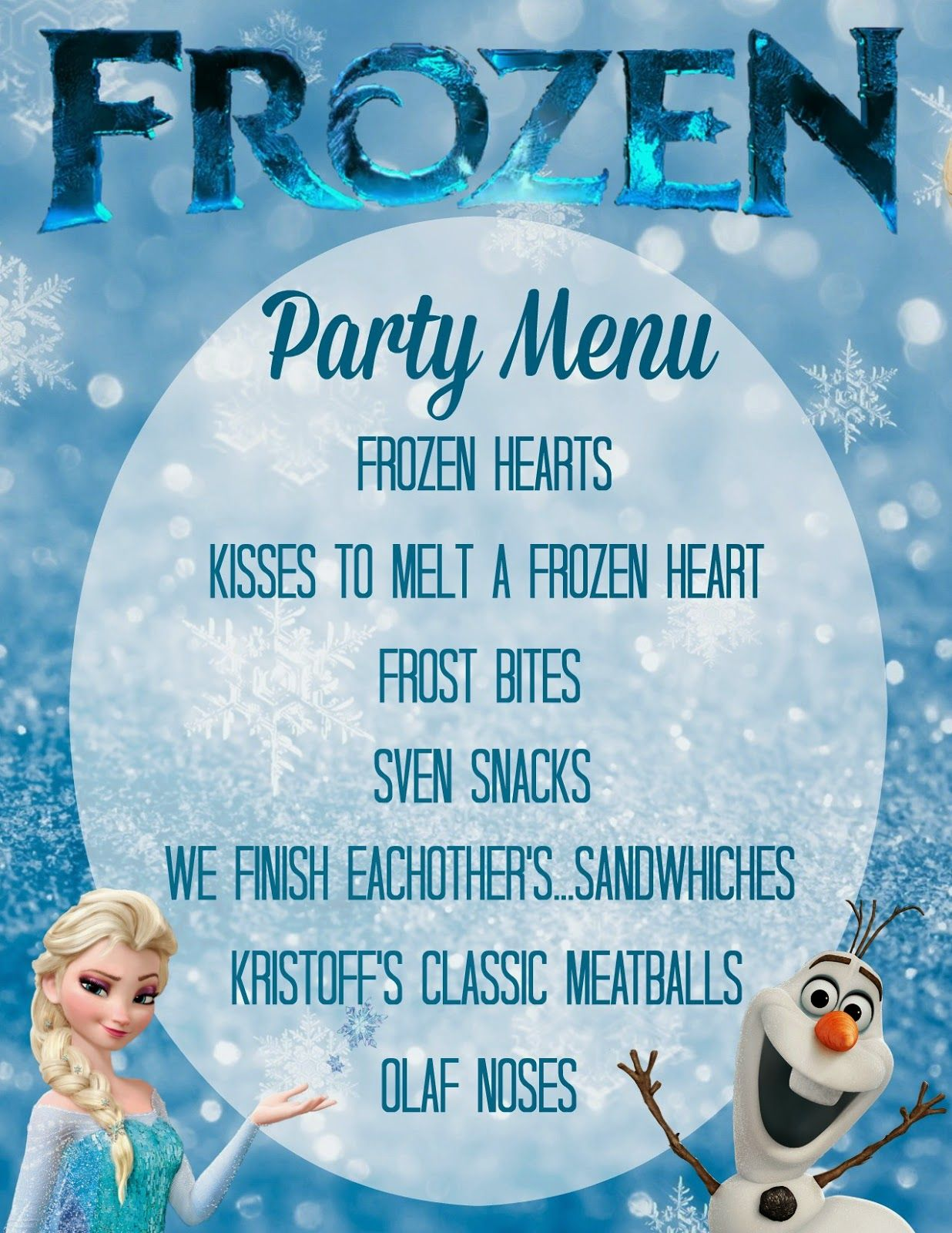 FREE Frozen Party Menu download + Party Ideas and Inspiration ...