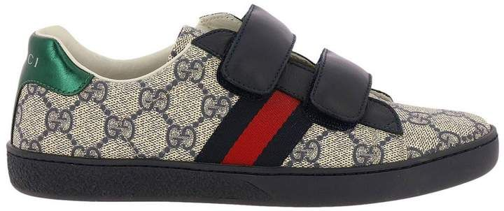 90d42ee1a5 New ace sneakers in leather with gg supreme print and web gucci ...