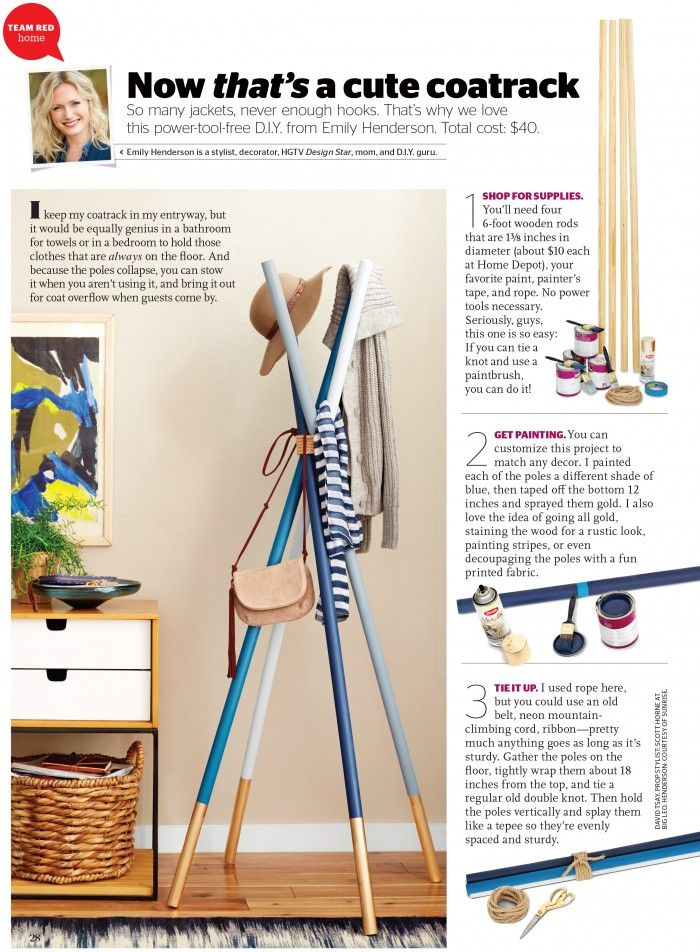 Diy Wooden Dowel Coatrack In Redbook Furniture Diy Ideas Wooden