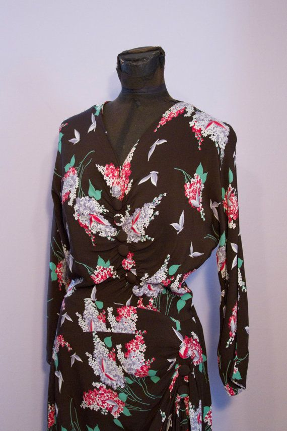1940s rayon with butterflies
