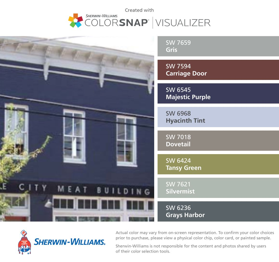 I found these colors with ColorSnap® Visualizer for iPhone by Sherwin-Williams: Gris (SW 7659), Carriage Door (SW 7594), Majestic Purple (SW 6545), Hyacinth Tint (SW 6968), Dovetail (SW 7018), Tansy Green (SW 6424), Silvermist (SW 7621), Grays Harbor (SW 6236).