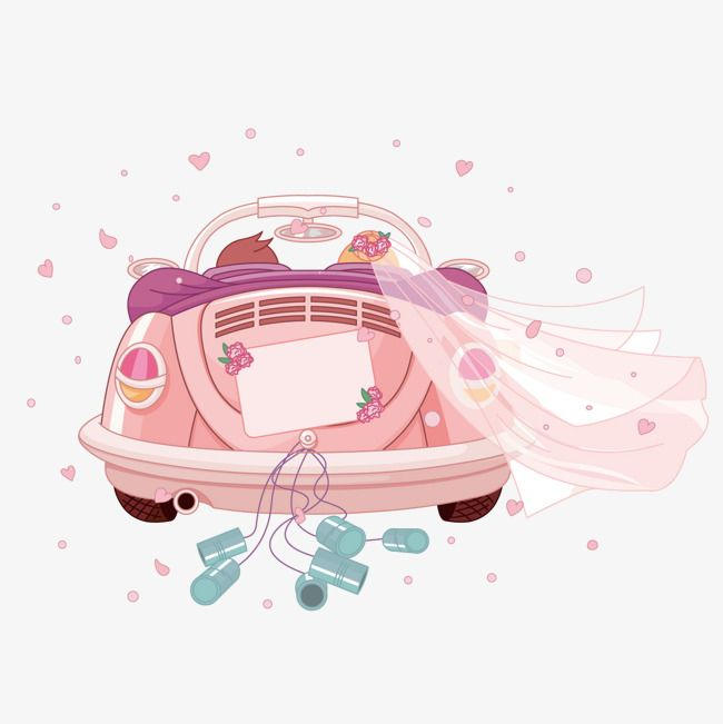 Romantic Wedding Cartoon Wedding Clipart Cartoon Clipart Pink Png And Vector With Transparent Background For Free Download Just Married Car Just Married Wedding Car