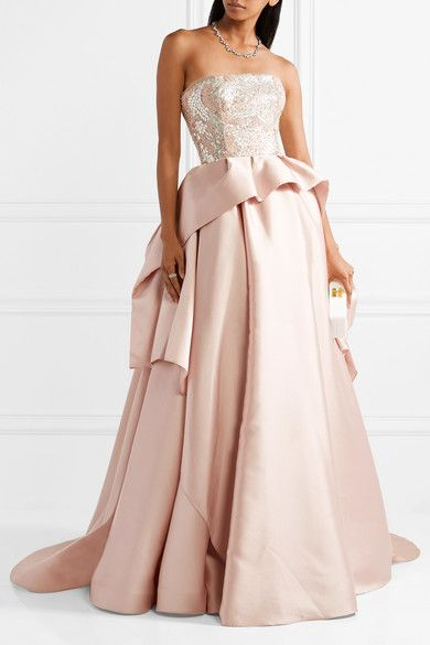 Embellished Tulle-trimmed Silk And Wool-blend Gown - Pastel pink Reem Acra xe8HPYZLL