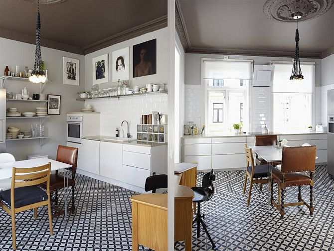 clean, organized, dark ceiling, mismatched chairs. lovely.