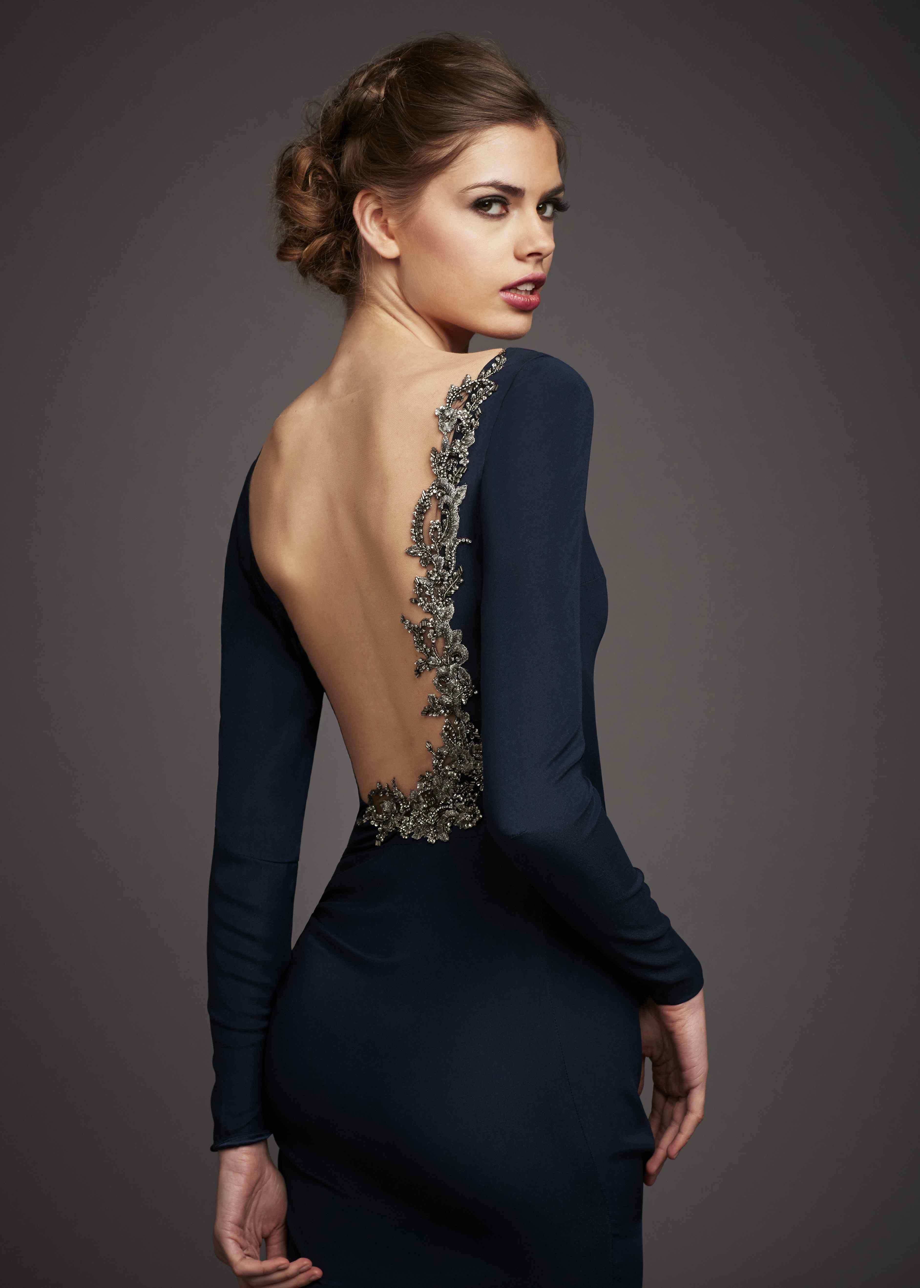 1b899fa56ed Anne Barge Black Label - Evening Gown - Colmar. Navy silk crepe column gown  with long sleeves and low sheer illusion back with asymmetrical embroidery  ...