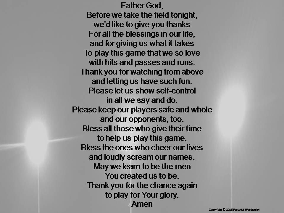 Christian Pre-Game Football Prayer Print, Digital Download ...