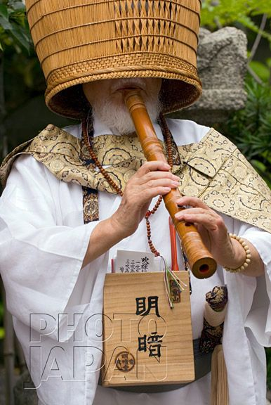 Japan Komuso Monk With Shakuhachi Flute And Basket Hat Japanese Monk Japan Historical Japan