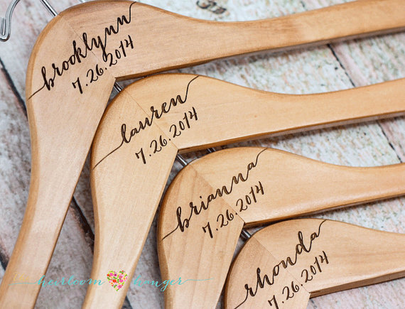 Personalized Bridesmaid Hanger Wooden Engraved Bridal Dress