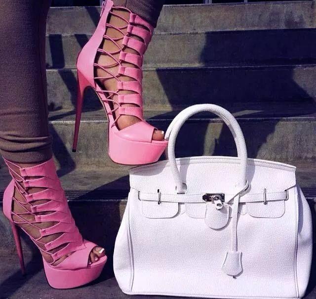 #heels #pink #bag