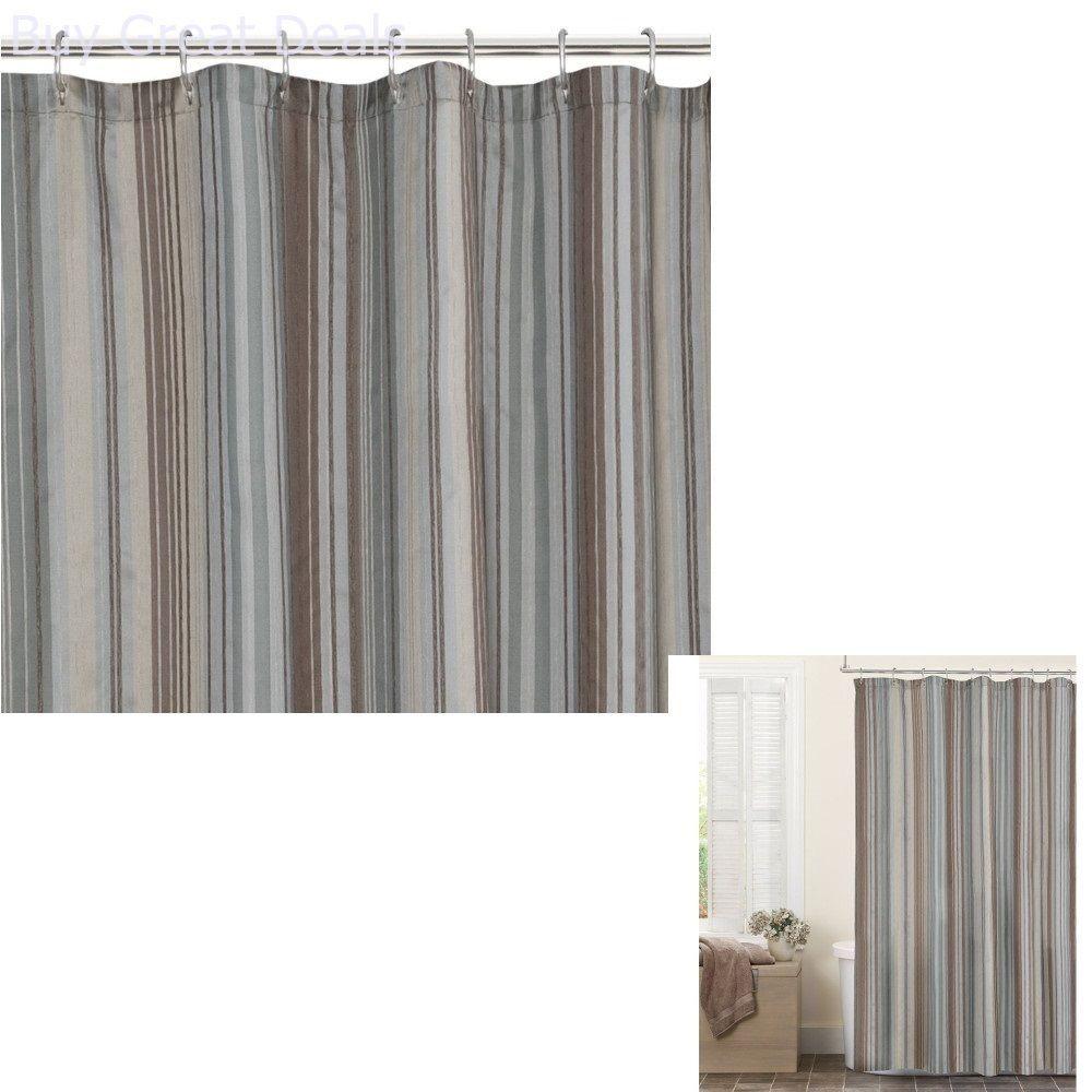 Blue Brown Tan Fabric Shower Curtain Bathroom Bath Tub Maytex