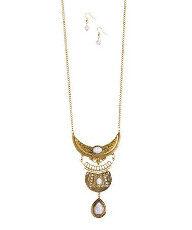 cd37f8c58d554 Look at this #zulilyfind! Goldtone & Faux Marble Pendant Necklace ...