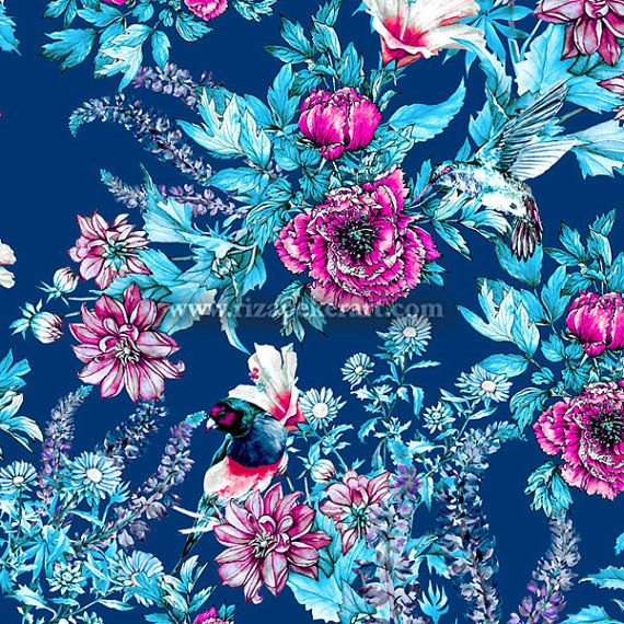 seamless floral pattern on dark blue background digital