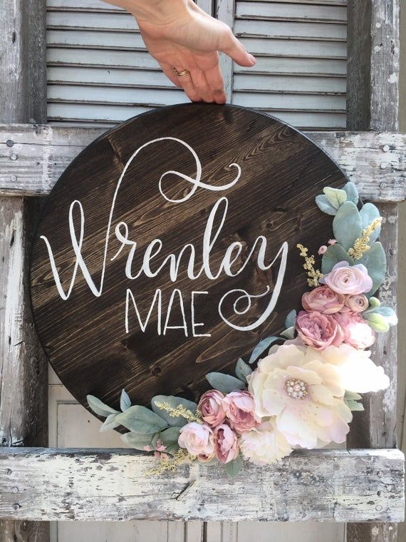 Round name sign, round wood sign, circle name sign, round sign, 3D wood sign, round nursery sign, custom round sign, flower name sign, girl