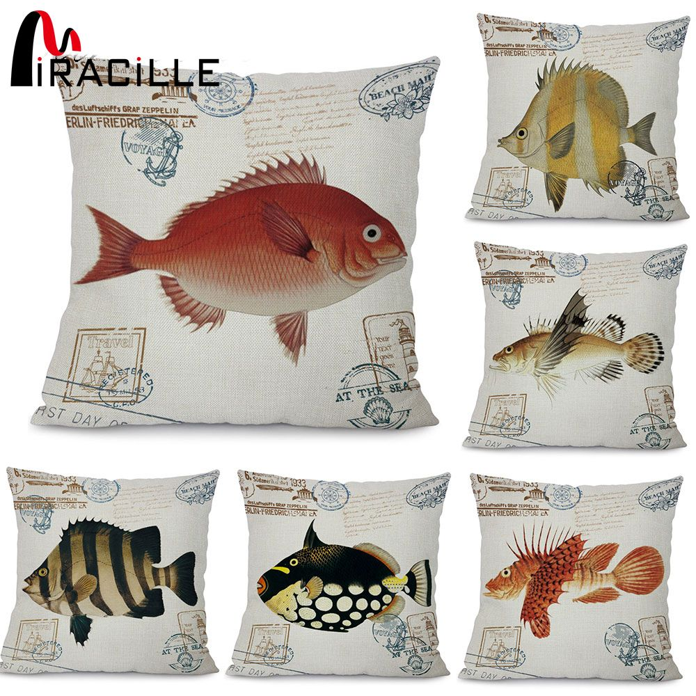 Rustic dcor miracille ocean fish pattern garden chair waist cushion