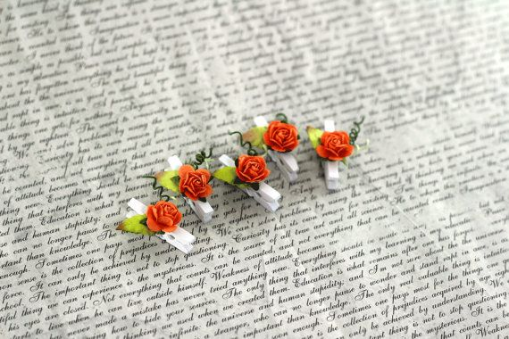 Mini Wooden Clothespins With Mini Roses  by MemoriesandPastimes, $2.95