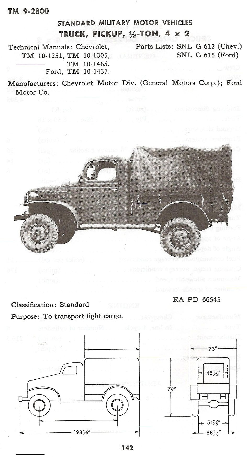 G612 Chevy 1 2 Ton Truck From Tm 9 2800 Standard Military Motor
