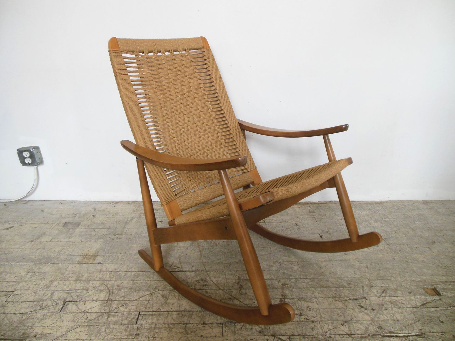 Price reduced sturdy wooden vintage rocking chair made in yugoslavia - Yugoslavian Rope Rocking Chair Repop