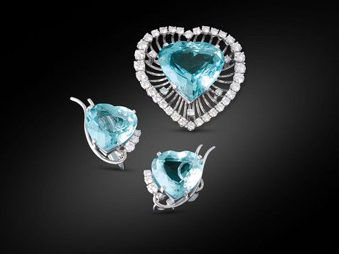 Estate Jewelry, Aquamarine Pin and Earring Suite ~ M.S. Rau Antiques $40,500