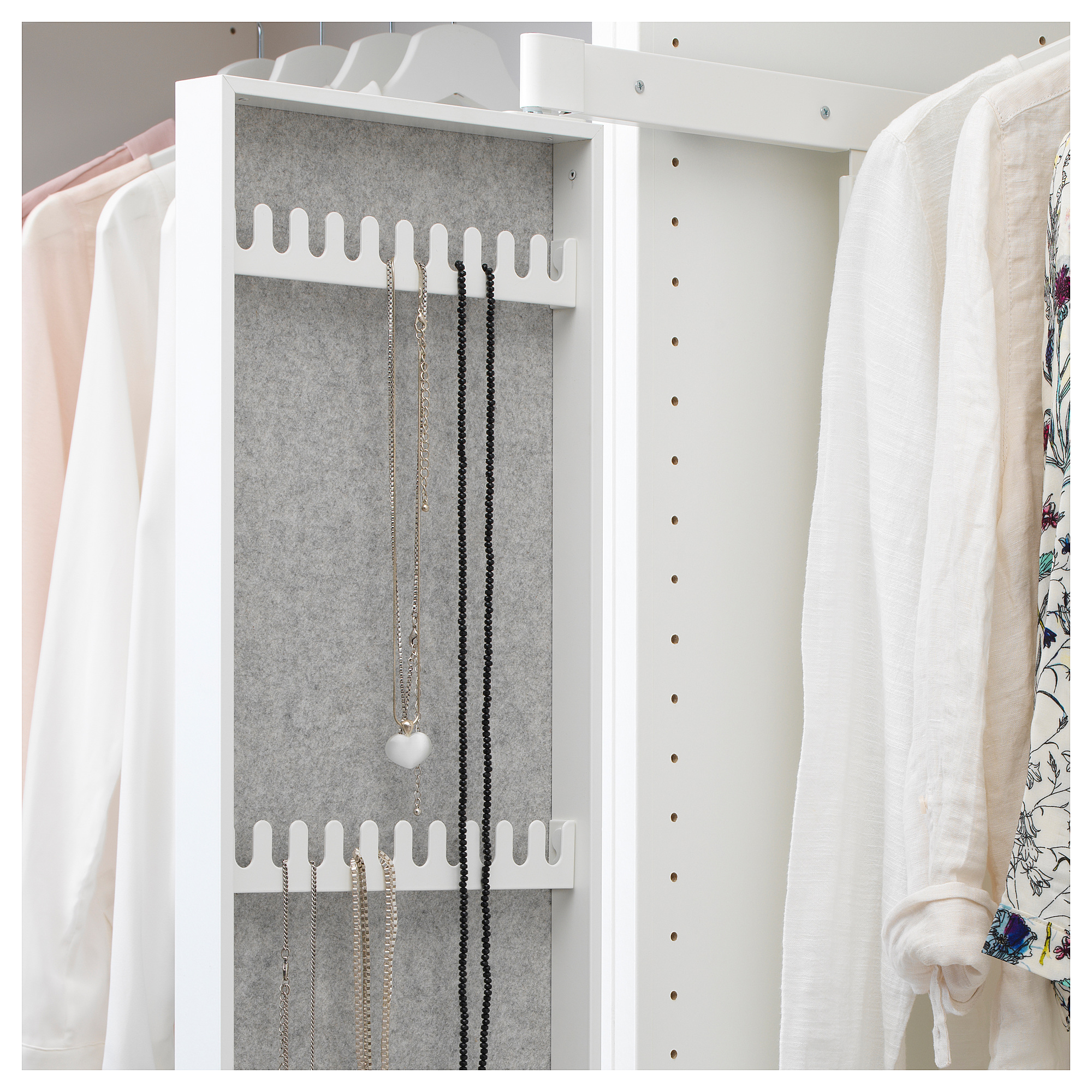 KOMPLEMENT Pull-out mirror with hooks White IKEA   Products