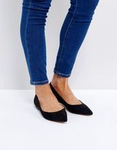 DESIGN Latch Pointed Ballet Flats in black