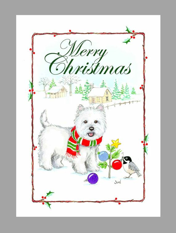 West Highland White Terrier Christmas Cards Box of 16 Cards and 16