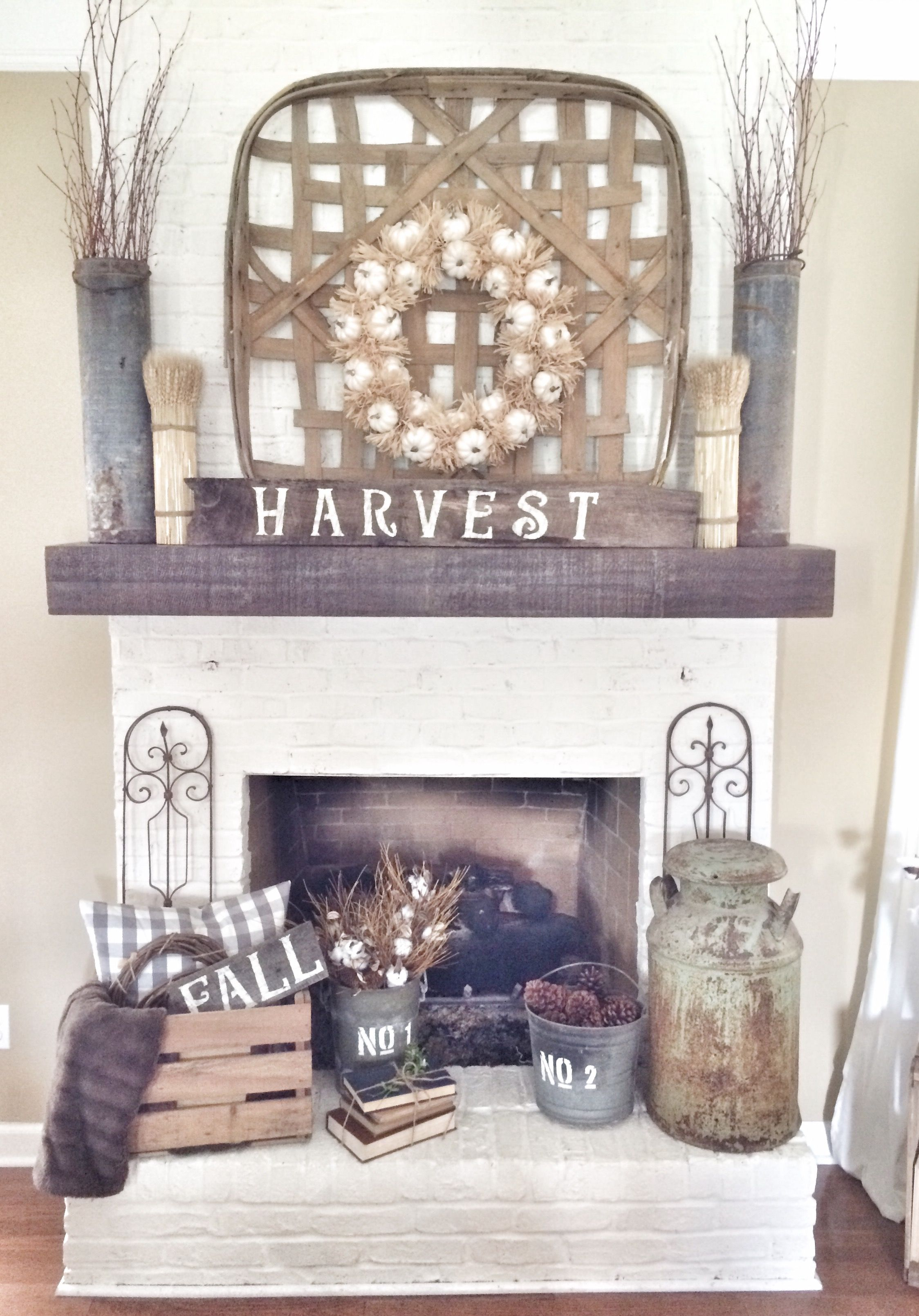 Farmhouse Rustic Fireplace Mantel Decor Rustic Fall Fireplace In Neutrals Falldecor Homechanneltv