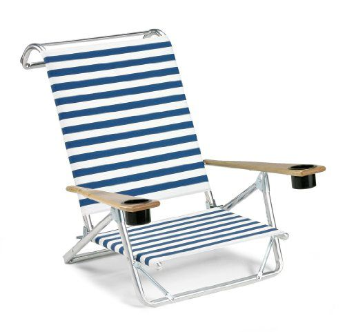 Telescope Casual Original Mini Sun Chaise Folding Beach Arm Chair With Cup  Holders Blue/White Stripe For Sale ...