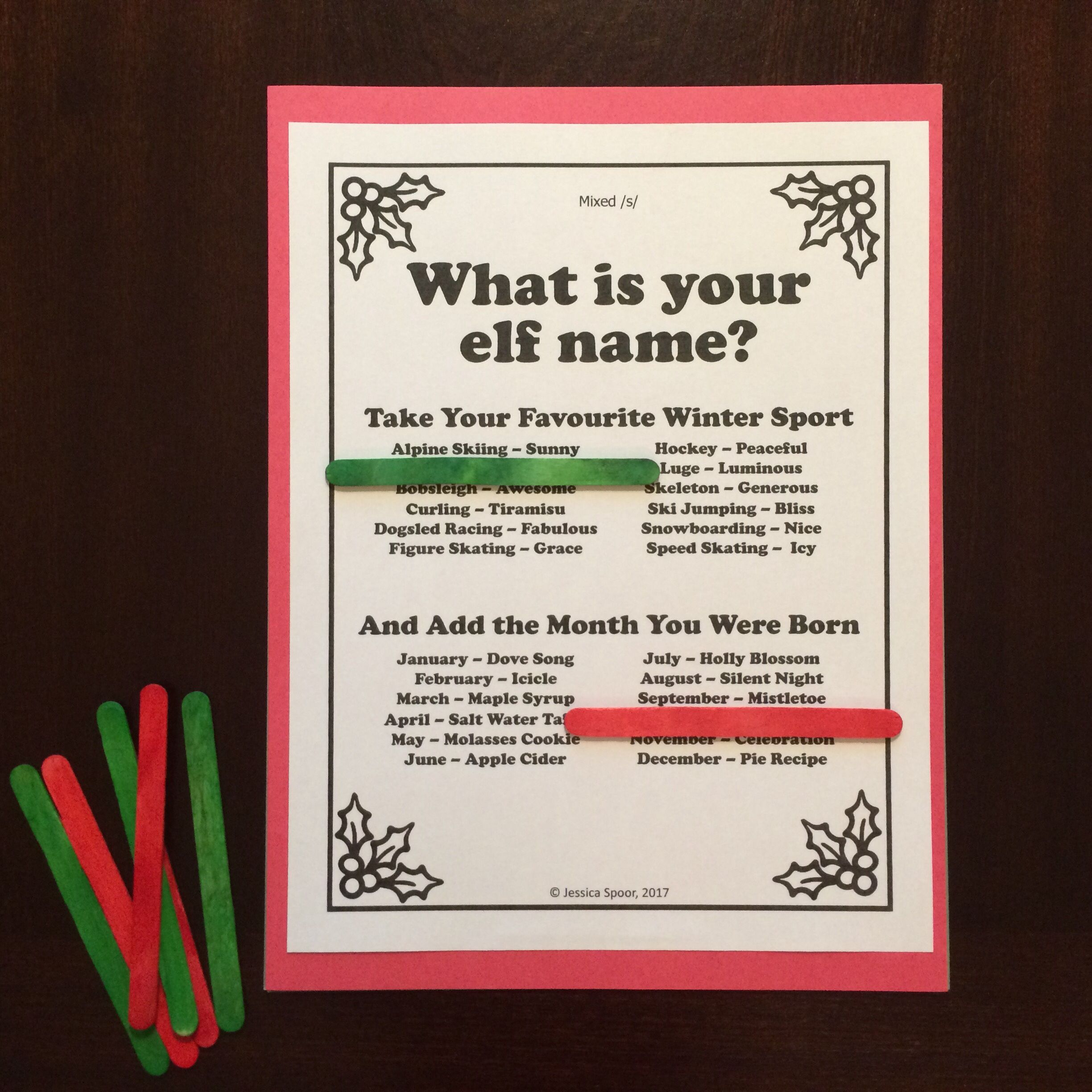 What Is Your Elf Name A Festive No Prep Articulation Activity