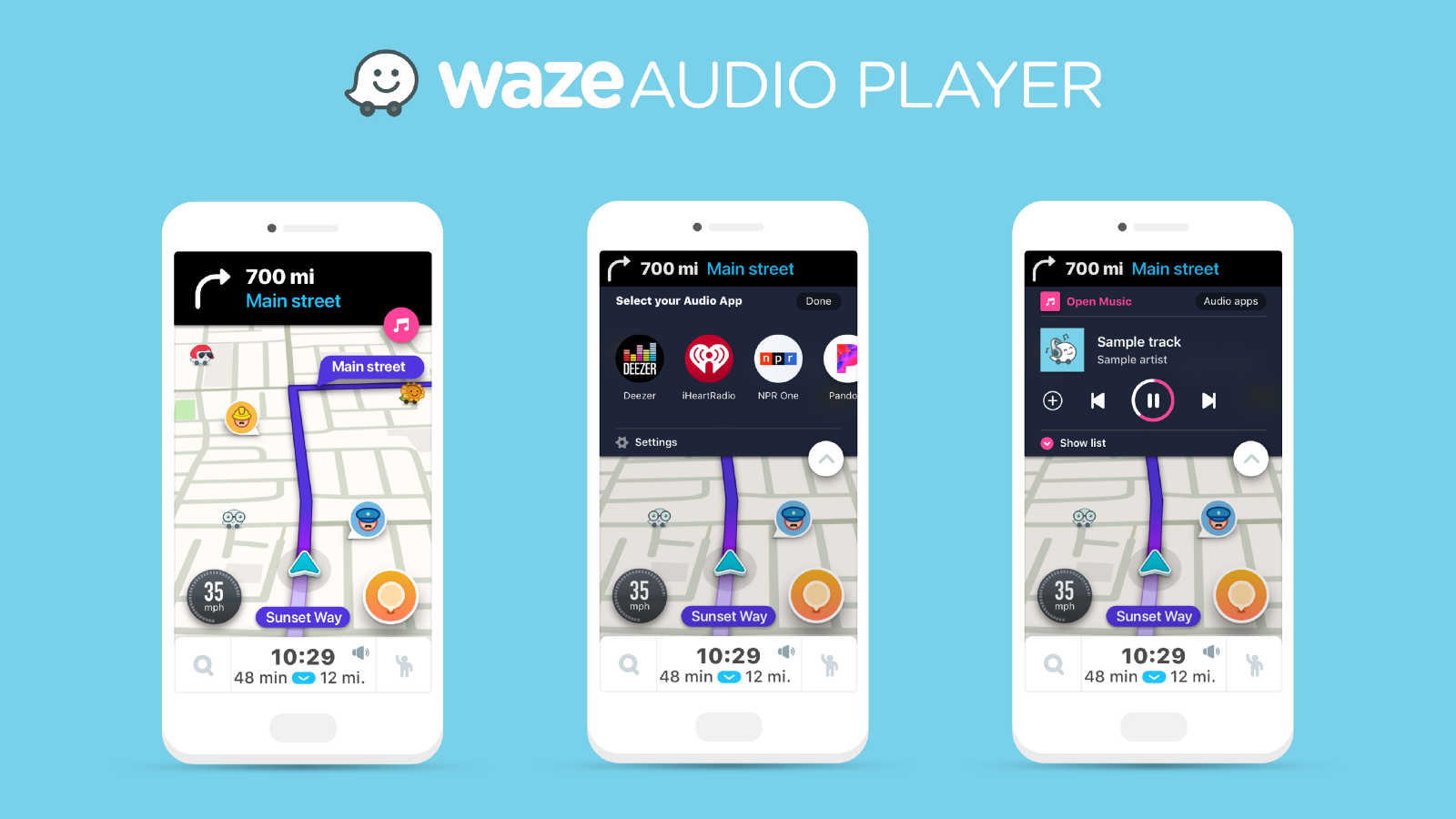 Waze for Android and iOS adding Audio Player integration w