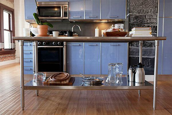 Modern Light Blue Loft Kitchen In Los Angeles