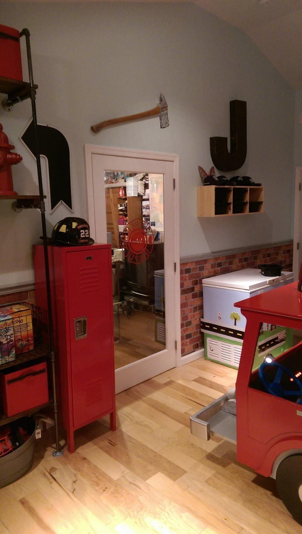 firefighter locker and decor firefighter room pinterest