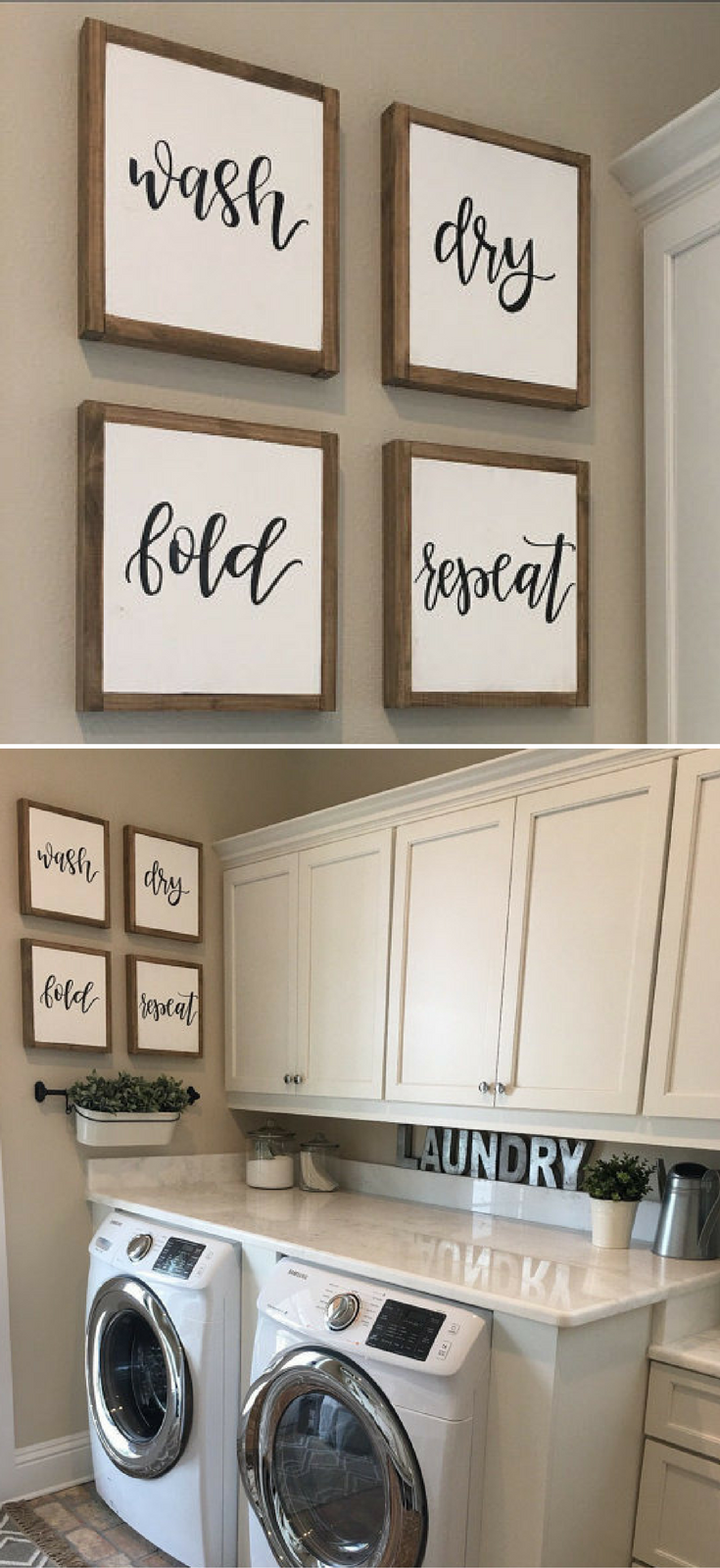 Laundry Room Sign Laundry Sign Wash Dry Fold Repeat