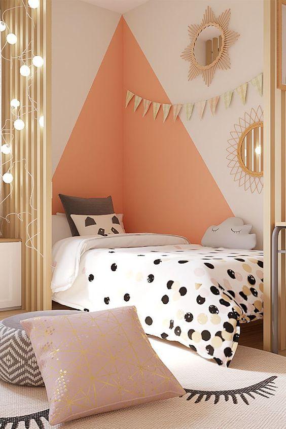 Paredes Geometricas En Dormitorios Infantiles Y Juveniles Decoracion De Paredes Dormitorio Decoracion De Habitacion Juvenil Dormitorios