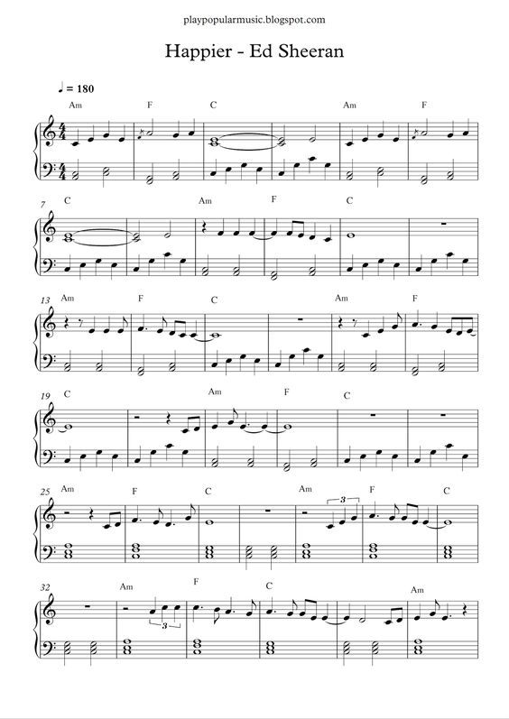 Happier Ed Sheeran With Images Piano Sheet Music Free