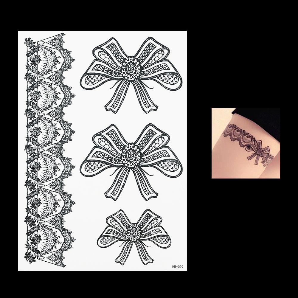 Henna Tattoo Für Jungs: Hot 2016 1 PC Beautiful Black Flower Lace Temporary Tattoo