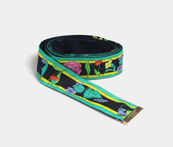 d7425cba2da4f8 Vintage 90s LEONARD Belt   Authentic Designer Floral Print Silk Sash Tie  Belt