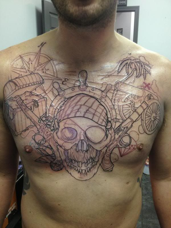 This Is So Cool As A Chest Piece Not For Me Of Course Chest Piece Tattoos Compass Tattoo Design Pirate Tattoo