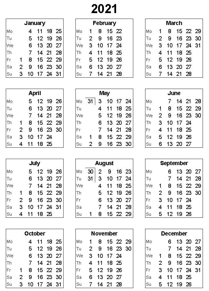 2021 Printable Calendar With Holidays In 2020 2021 Calendar Printable Calendar Template Calendar
