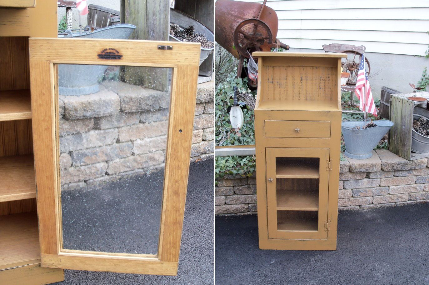 Primitive Jelly Cabinet 24 Inch Glass Door Jelly Cabinet Jelly
