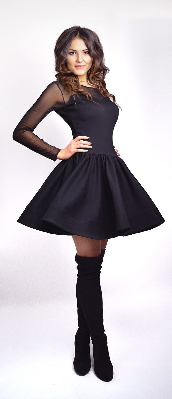 c83e7aed ZAIRA - rozkloszowana sukienka z siateczka czarna | Moda damska ...